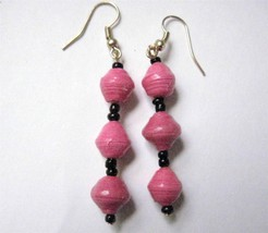 "Hot Pink 3 Bead Drop  Earrings Recycled Paper Beads Uganda 2 1/2"" Gold  Wire - $5.77"