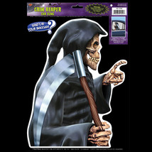 Funny Car Cling Decal GRIM REAPER BACKSEAT DRIVER Over Hill Halloween De... - $3.93