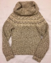 GAP Sweater top womens XS Ivory Brown Wool Blend Angora Pullover Cowl Neck - $29.99