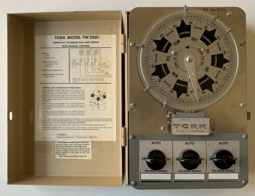 Tork TW300L 7 Day Calendar Dial 3 Pole Single Throw 120V 60Hz Time Control Clean - $554.43