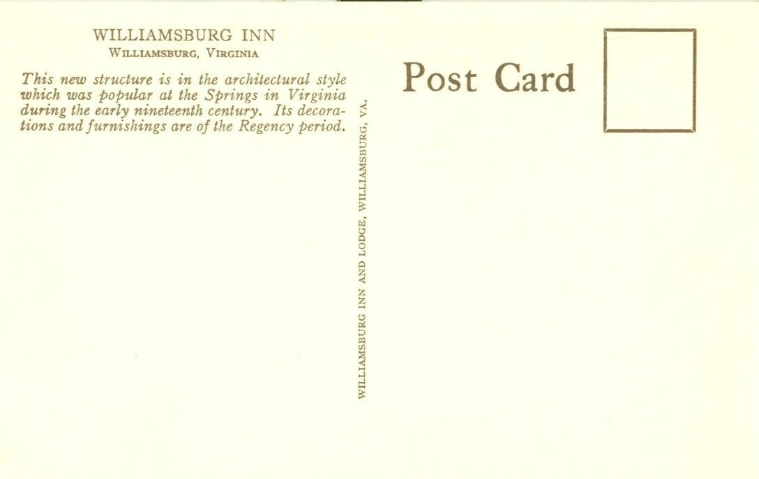 Williamsburg Inn, Virginia, old unused Postcard