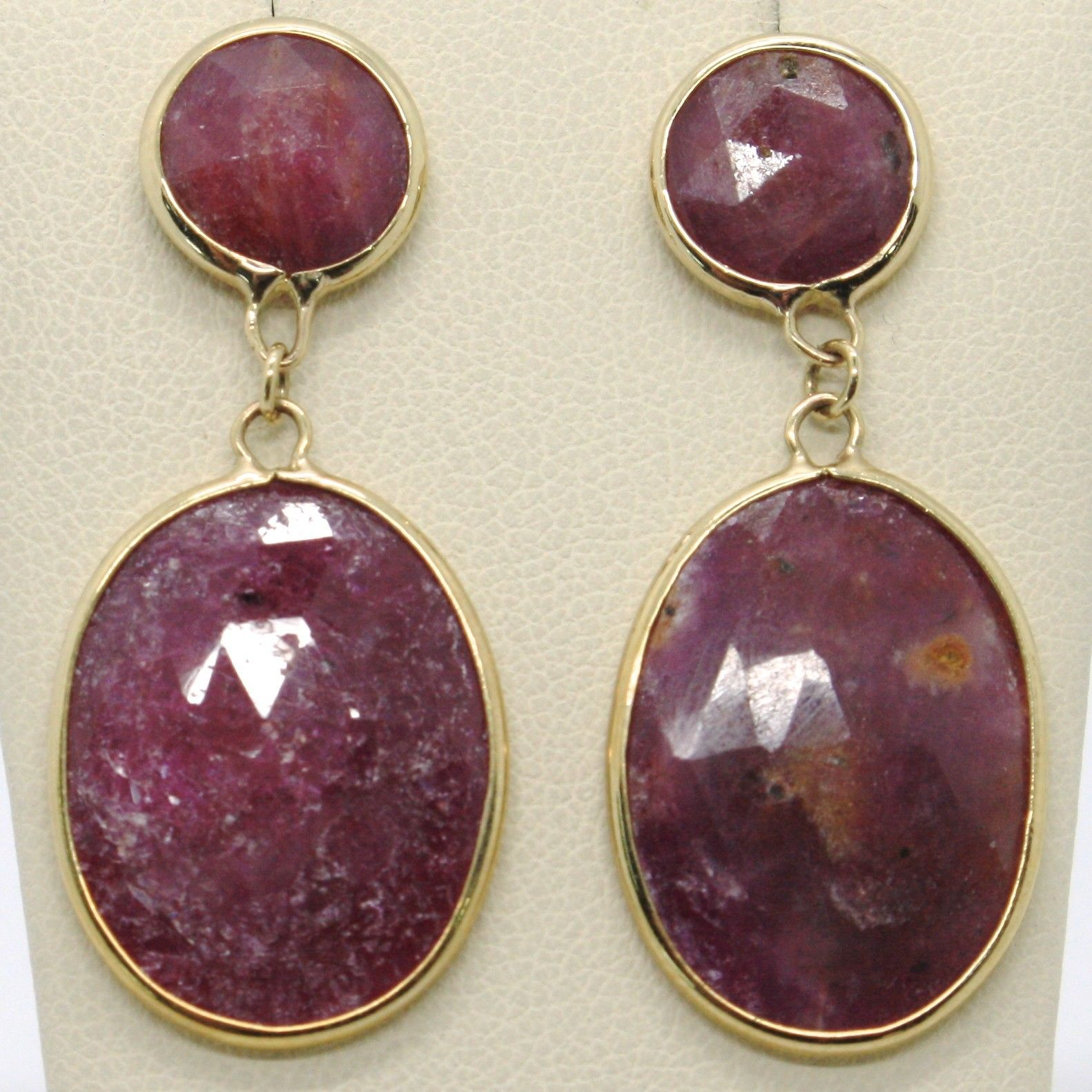 9K YELLOW GOLD PENDANT EARRINGS, FACETED FLAT ROUND & OVAL RED RUBY, ITALY MADE