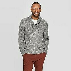 Men's Standard Fit Long Sleeve Shawl Pullover Sweater Goodfellow & Co Charcoal -