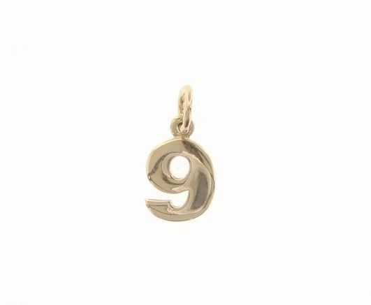 18K YELLOW GOLD NUMBER 9 NINE PENDANT CHARM, 0.7 INCHES, 17 MM, MADE IN ITALY