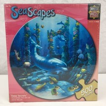 Dolphin Underwater Ruins Round Jigsaw Puzzle Deep Secrets MasterPieces D Miller - $10.77