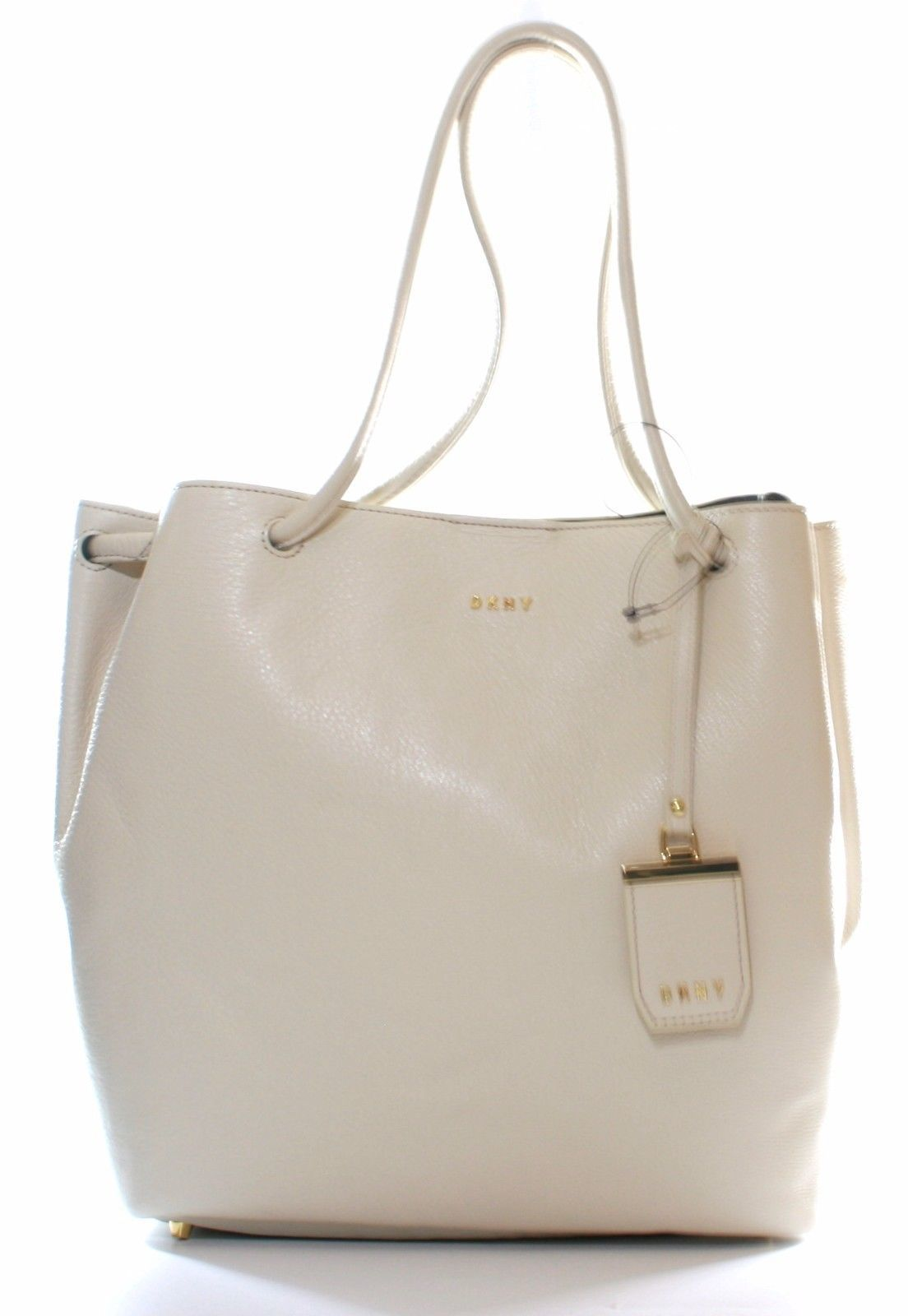 DKNY Donna Karan Sand Dollar Cream Leather Shoulder Bag Medium Handbag