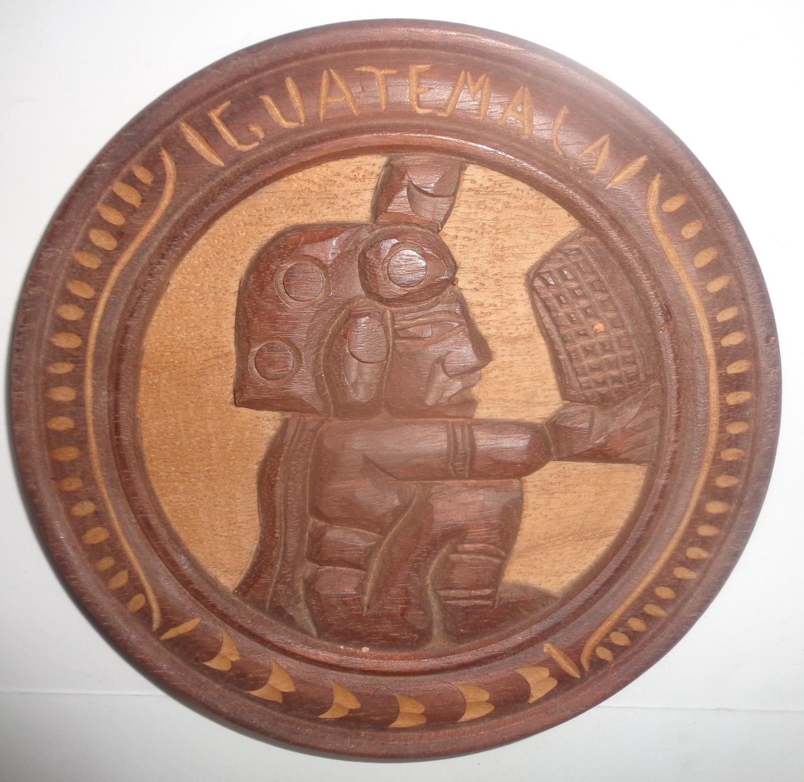 """Solid Teak Wood Carved Wall Art 16"""" Diameter """"Working Basket"""""""