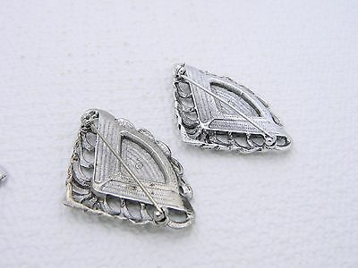 VTG Silver Tone Faux Marcasite Enamel Fan Post Earring Pin Brooch Set
