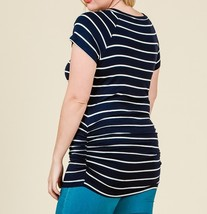 Navy Striped Plus Top, V Neck Striped Top, Ruched Plus Top, Navy White image 2