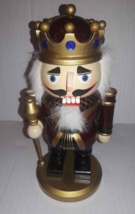 """Nutcracker King 9"""" Gold Scepter Jeweled Crown Wooden Christmas Holiday D... - $15.79"""
