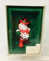 1982 Cowboy Snowman Hallmark Christmas Tree Ornament MIB w Price Tag - $24.26
