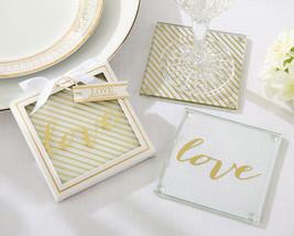 50 Gold Striped Love Glass Coasters 50th Anniversary Bridal Wedding Favo... - $119.46