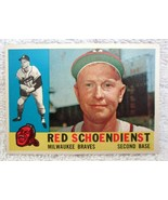 RED SCHOENDIENST 1960 TOPPS FIELDING POSE CARD#335 EX/MT CONDITION-BRAVE... - $19.79