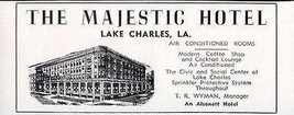 Majestic Hotel Lake Charles Louisiana All Rooms w AC 1956 Travel Tourism AD - $10.99