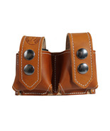 New Barsony Saddle Tan Leather Revolver Double Speed Loader Pouch .22 .3... - $39.99