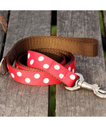 Candy Dot: White on Red Grosgrain Dog Leash (120cm, 4ft.) / Made in Japan - $36.00