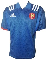 EUC Adidas F.F.R. Rugby Jersey Blue #Allbleus Officially Licensed Climalite Lrg - $50.95