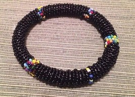Ethnic Handmade Beaded Black Bracelet from Kenya Africa - $12.86