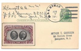 1947 Naval Cancel USS Hyman DD732 UX27 Postal Card CIPEX Cinderella Post... - $9.95