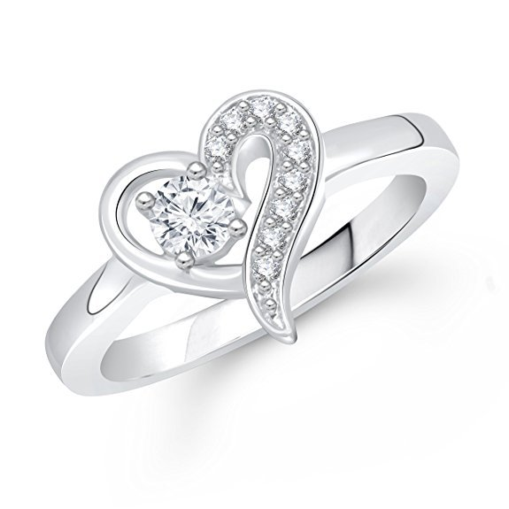 Women's Heart Shape Ring 14k White Gold Over 925 Silver Round Cut Cubic Zirconia