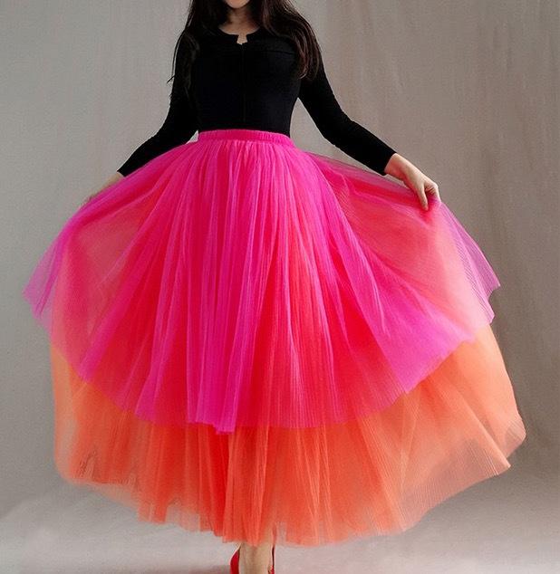Women Tiered Tutu Skirt Hot Pink Red Tiered Tulle Skirt Party Dance Skirt Custom