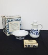 Delft Blue Pitcher Transfer Bowl Glass Vtg 1972 Avon Skin So Soft Oil Co... - $21.29