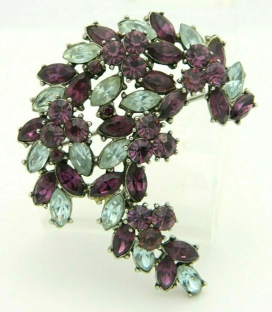 Primary image for 1961 CROWN TRIFARI Purple Rhinestone Leaf Flower Silver Tone Pin Brooch
