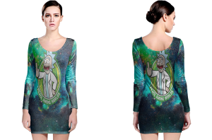 Rick and morty peace among worlds long sleeve bodycon dress
