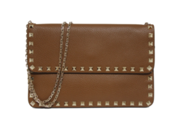 New Valentino Rockstud Chain Vitello Neutral Leather Bag - $978.04