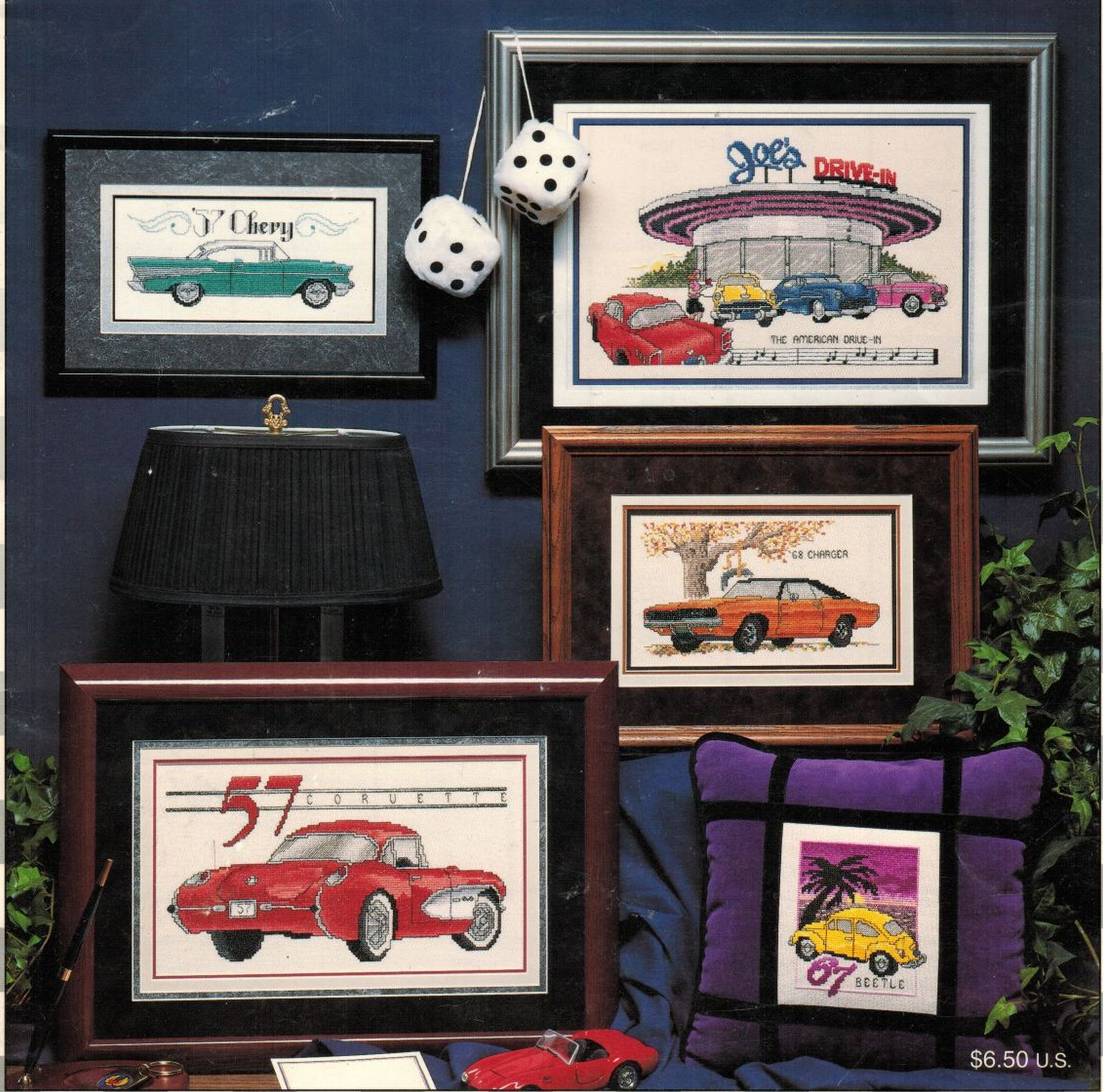 Primary image for Cross Stitch 7 Classic Autos Mustang Charger Beetle Chevy Thunderbird Pattern