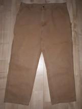 Carhartt Canvas Dungaree Fit Work Pants Mens Size 42 x 32 B11 BRN RN#14806 - $22.34