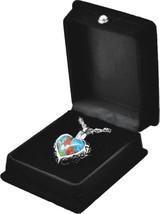 "Multi-Colored Heart Pendant w/20"" chain & black velvet display box - $149.99"