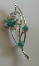 Vintage Signed Sarah Coventry Silver-tone Blue Floral Brooch/Pin - $17.81
