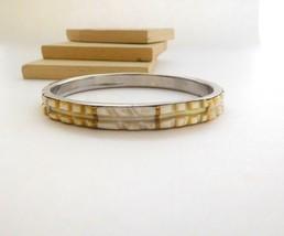 Vintage White Cream Carved Mother Of Pearl Shell Bangle Bracelet B44 image 2