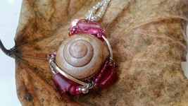 Delicate Enchantments Necklace: Natural pink snail shell with pink beadwork - $36.00