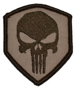 Punisher Skull 3x2.5 Shield Military Patch / Morale Velcro Patch - Deser... - $4.89