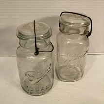 Antique Ball Ideal Glass Jars & Glass Lid w/ Wire Side Latch Pat'd July 1908 - $39.55
