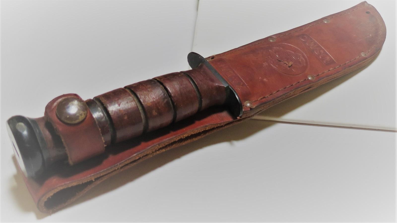 WW11 USMC Knife with leather sheath. Engraved with name of Marine image 2
