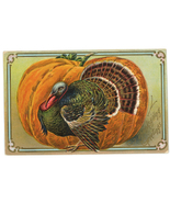 Thanksgiving Greetings vintage Victorian postcard pumpkin turkey   - $9.00