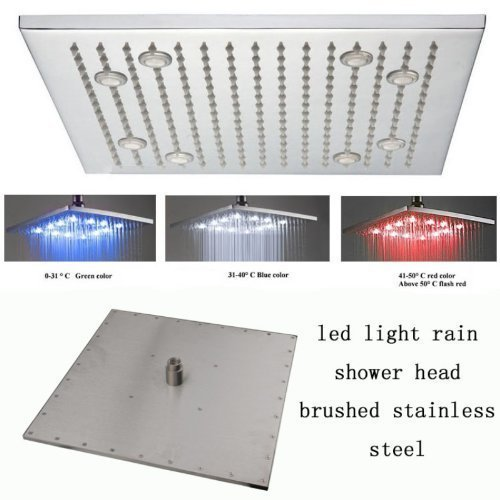 Primary image for 16 Inch Ceiling Mount Square Rainfall LED Shower Head, Stainless Steel (include