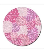 Pink Flowers Petals Pattern Round Computer Mouse Pad - $11.69