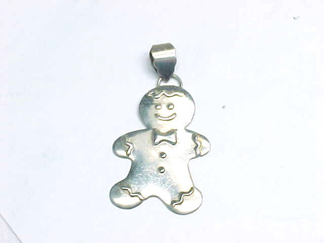 GINGERBREAD MAN STERLING Silver PENDANT by Designer - 2 1/8 inches