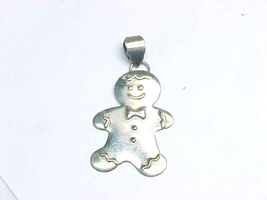 Gingerbread Man Sterling Silver Pendant By Designer   2 1/8 Inches  - $60.00