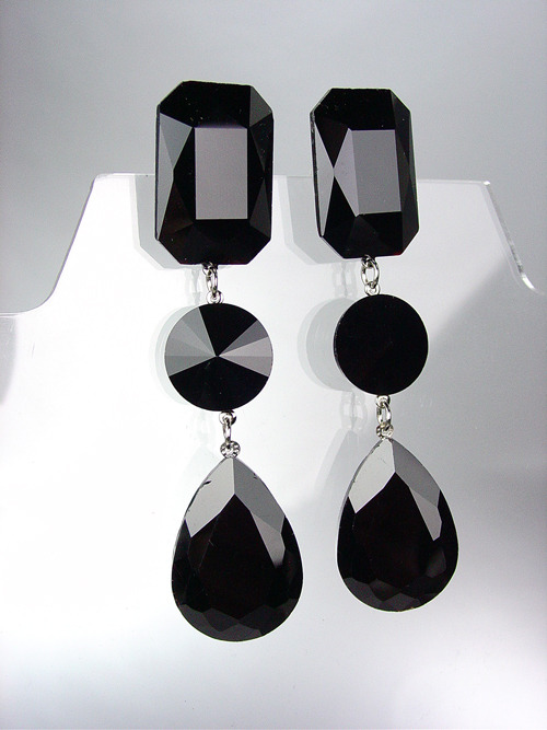 Primary image for GLITZY Black Swarovski Crystals LONG Bridal Queen Pageant Prom Dangle Earrings