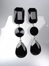 GLITZY Black Swarovski Crystals LONG Bridal Queen Pageant Prom Dangle Ea... - $29.99