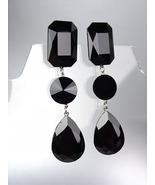 GLITZY Black Swarovski Crystals LONG Bridal Queen Pageant Prom Dangle Ea... - £23.02 GBP