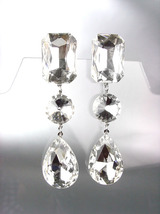 GLITZY Clear Swarovski Crystals LONG Bridal Queen Pageant Prom Dangle Ea... - $29.99