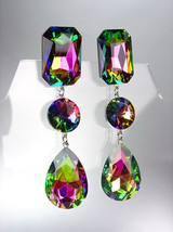 GLITZY Vitrail Medium Swarovski Crystals LONG Bridal Queen Pageant Prom ... - £23.19 GBP
