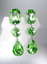 GLITZY Peridot Green Swarovski Crystals LONG Bridal Queen Pageant Prom E... - £23.19 GBP