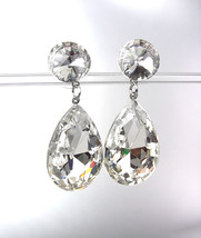 GLITZY SHIMMER Clear Swarovski Crystals Bridal Queen Pageant Dangle Earr... - $24.99